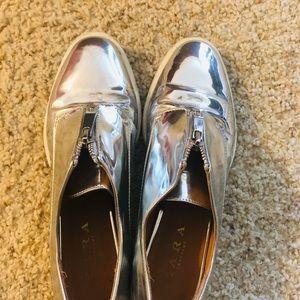 Silver colour shoes zara